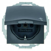 Розетка с заземлением с крышкой с защитой от детей 16А/250В В.3 Berker Антрацит