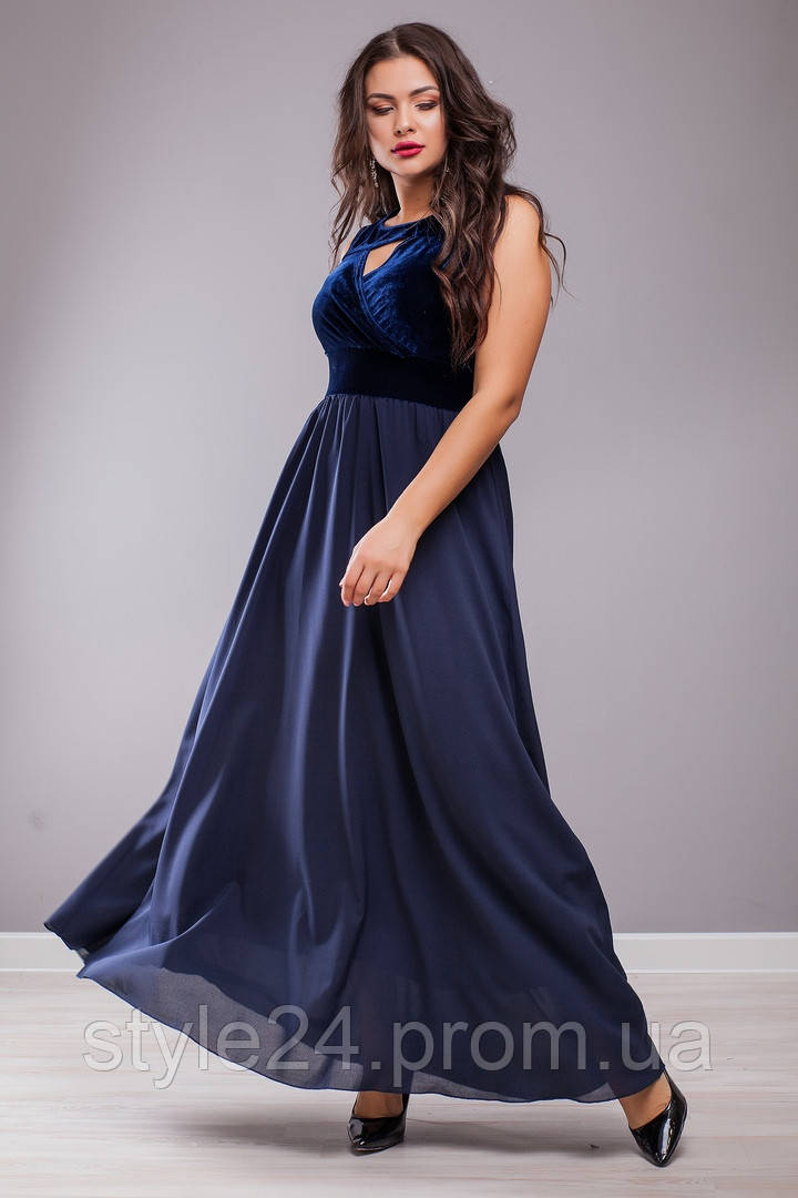 Шикарне бархатне нарядне довге плаття великих розмірів (50-64)