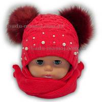 Красивая детская шапочка + шарф Польша 44-46 размер супер качество 1 2 3 года Разные цвета