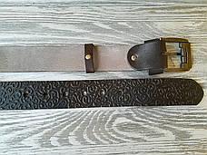 Шкіряний ремінь коричневі східні візерунки, фото 3