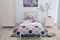 Подростковый комплект постельного белья HalfTones, цветной комплект 160*220см, ранфорс, хлопок, Ромбики