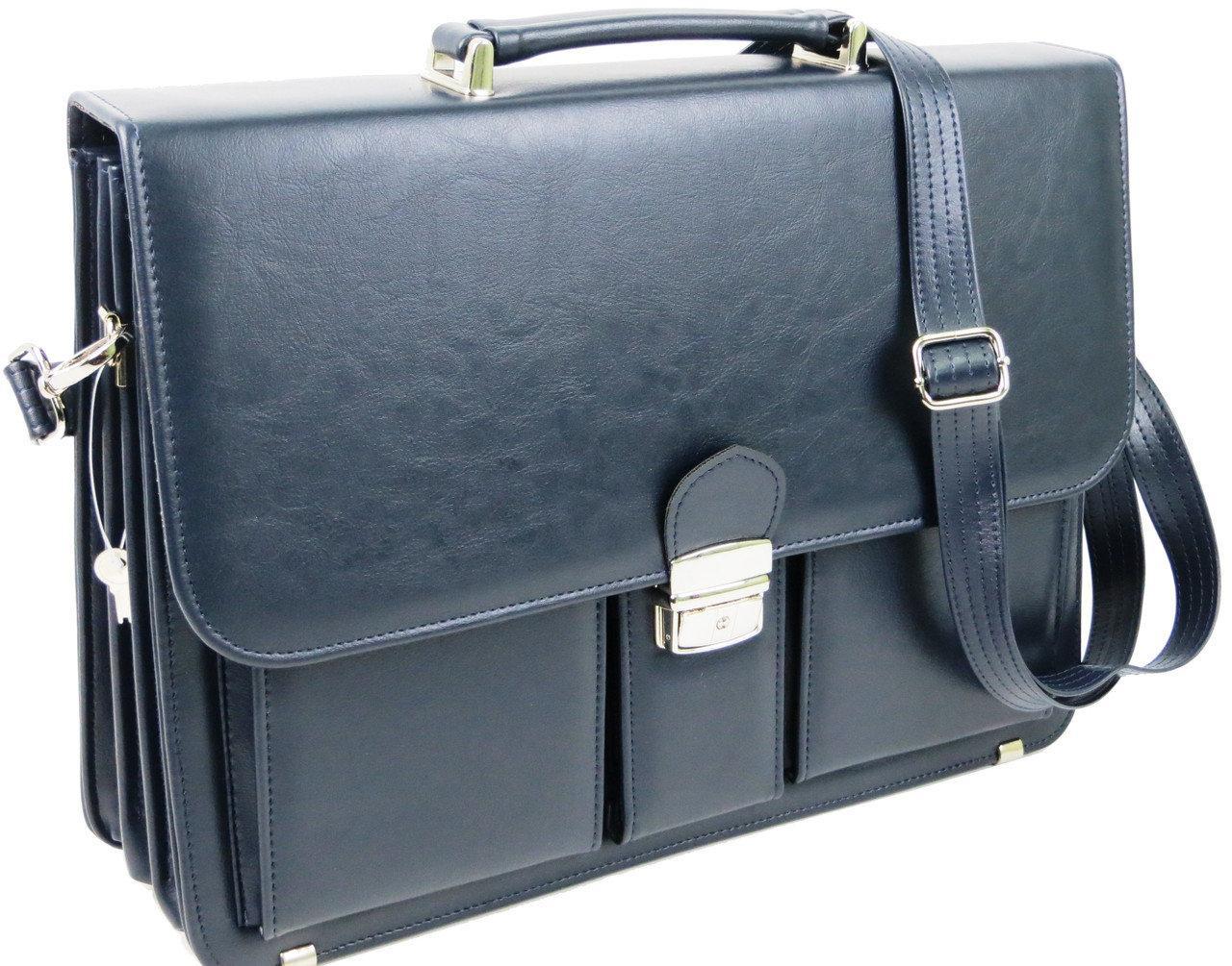 Діловий портфель з еко шкіри AMO Польща SST10 синій
