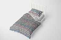 Полуторный комплект постельного белья на резинке HalfTones, 160*220см, хлопок, ранфорс, серый, белый