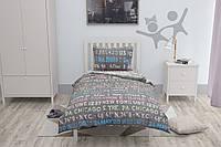 Подростковый комплект постельного белья на резинке HalfTones, 160*220см, хлопок, ранфорс, серый, белый