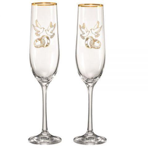 Набір келихів для шампанського 190 мл 2 шт Viola Bohemia 40729-190-Q7976