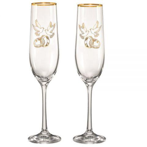 Набор бокалов для шампанского 190 мл 2 шт Viola Bohemia 40729-190-Q7976