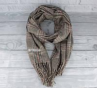 Уютный кашемировый шарф, палантин Pashmina 7680-3 коричневый в клетку, расцветки, фото 1