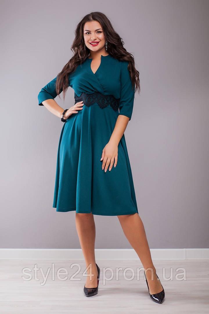 Шикарне батальне  плаття з кружевом на поясі.Р-ри 48-62