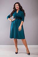 Шикарне батальне  плаття з кружевом на поясі.Р-ри 48-62, фото 1