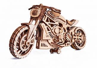 Мотоцикл DMS - дерев'яний 3D пазл Wood trick (механічний дерев'яний конструктор)