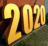 Золотые Буквы Цифры Из Пенопласта год 2020 в ЗОЛОТЕ 100 СМ Объемые Большие Декорации слова на день рождения, фото 1