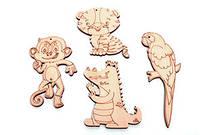Набор Звери летние - деревянная разукрашка, деревянный набор для творчества Wood Trick, деревянный декор вуд трик
