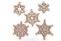 Набор Снежинки - деревянная разукрашка, деревянный набор для творчества Wood Trick, деревянный декор вуд трик