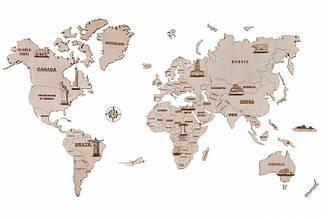 Карта світу L 1000*600 mm Дерев'яний 3D пазл Wood Trick (механічний дерев'яний конструктор)