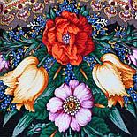 Летнее чудо 1885-18, павлопосадский платок шерстяной  с шелковой бахромой, фото 3