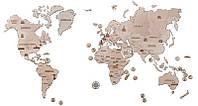 Карта мира XL 2000*1200mm - деревянный 3D пазл Wood trick (механический деревянный конструктор)