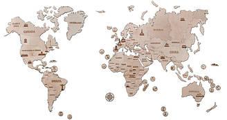 Карта світу XXL 2000*1200mm Дерев'яний 3D пазл Wood Trick (механічний дерев'яний конструктор)