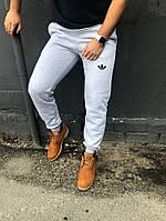 Зимние спортивные штаны мужские Адидас светло-серые (мультибренд)