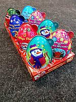 Яйцо пластиковое Новогоднее 40г с игрушкой-сюрпризом и конфетами для девочки/мальчика, 8 шт.
