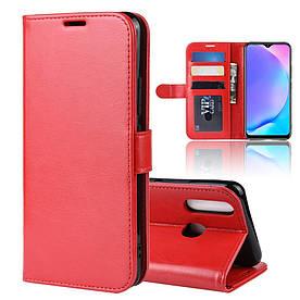 Чехол книжка для VIVO Y3 боковой с отсеком для визиток, Гладкая кожа, красный
