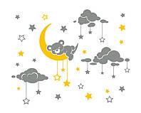 Милая интерьерная наклейка для детской комнаты ReD Спящий мишка на луне, 96х75 см Серая