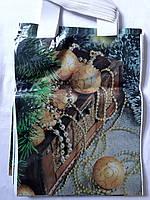 Пакет цветной ламинированный с петлевой ручкой новогодний 25*35 ХВГ голубой