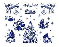 Оригинальная наклейка на окно ReD Зима в долине Муми-Троллей, 96х75 см Синяя