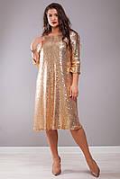 Шикарне батальне  плаття з паєтками  ,4 кольори.Р-ри 50-64, фото 1