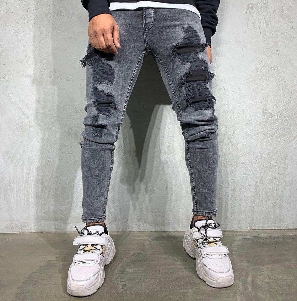 Мужские осенние весенние джинсы рваные светло серые. Живое фото