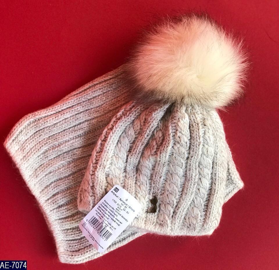 Комплект набор шапка + шарф детский зимний вязка много цветов Новинка