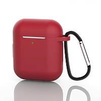 Защитный Чехол для наушников Apple AirPods 2 / 1 с карабином Alitek Wine Red (88717)