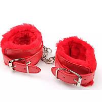 Меховые красные наручники для сексуальных игр, фото 1
