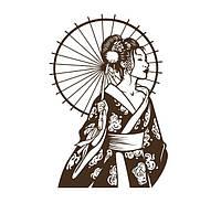 Красивая наклейка в японском стиле в зал или спальню ReD Гейша 2, 75х96 см Коричневая