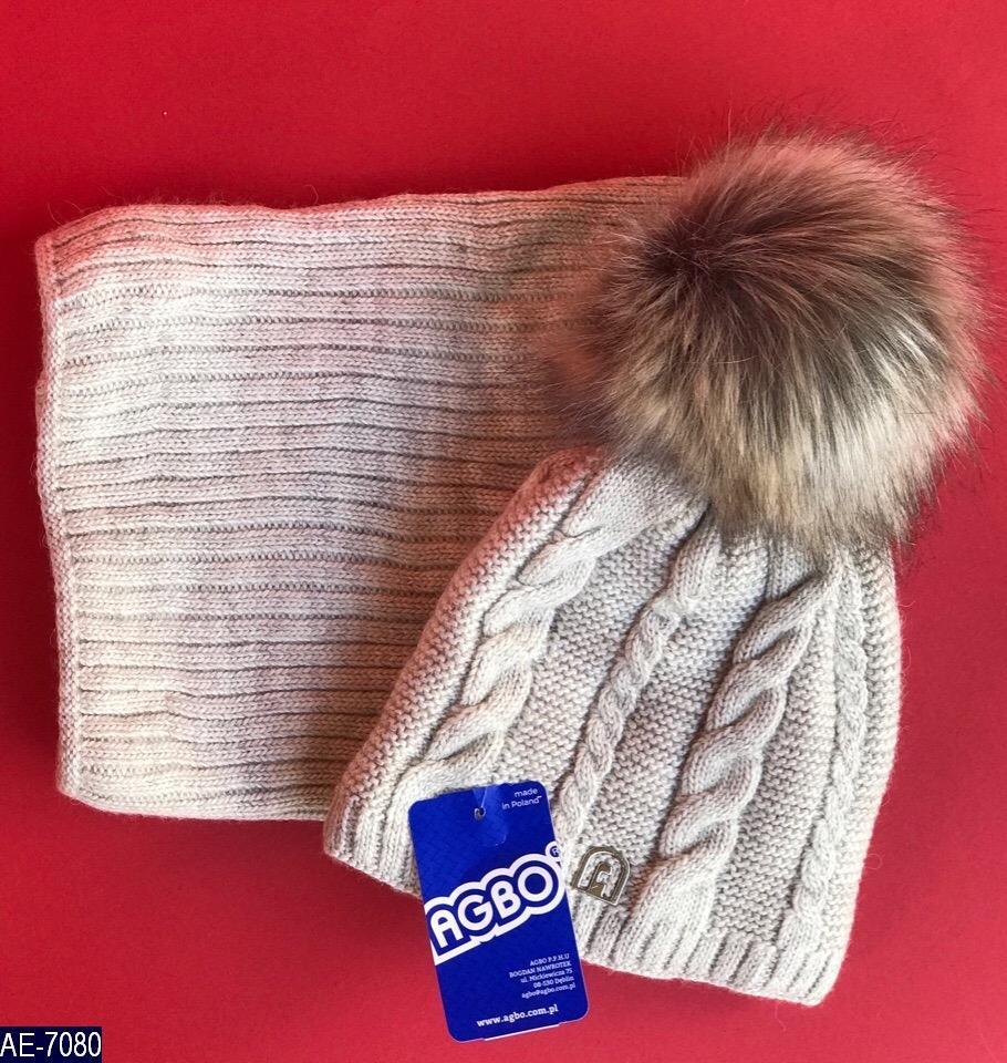 Комплект набор шапка +хомут детский зимний вязка много цветов Новинка