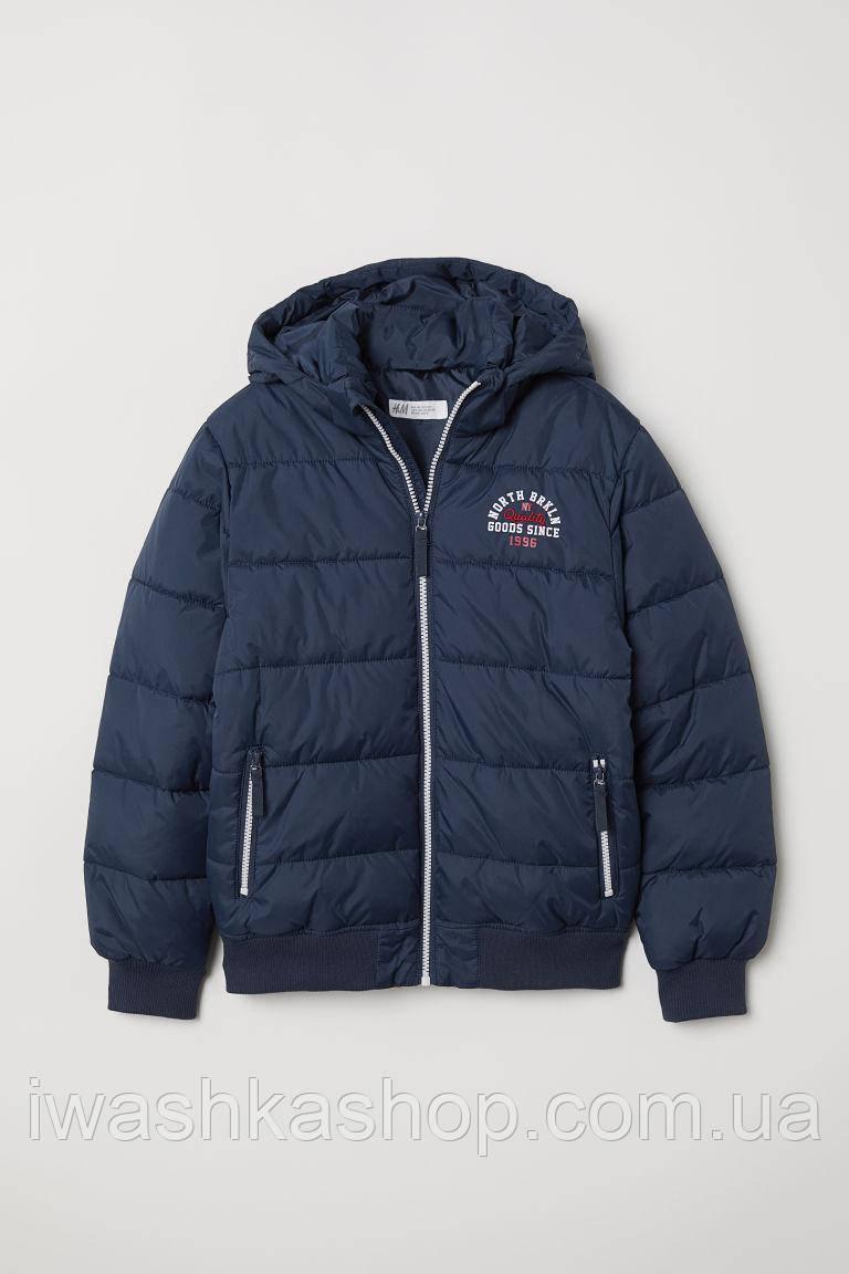 Темно-синяя куртка с капюшоном на мальчика 12 - 13 лет, р. 158, H&M