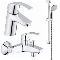 Набор смесителей для умывальника, ванны и душевая стойка S-Size Grohe Eurosmart 123238S