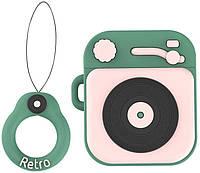Чехол Case для Apple AirPods Alitek Фонограф Ретро Pink/Green + держатель (88730), фото 1