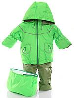 Детский демисезонный костюм-тройка (конверт+курточка+полукомбинезон) салатовый, фото 1