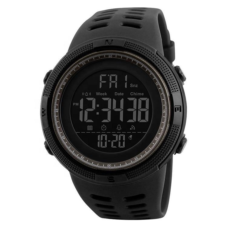 Skmei 1251 amigo черные с коричневым мужские спортивные часы