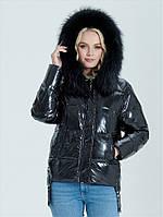 Зимняя женская короткая черная куртка c мехом zlly 19439, фото 1