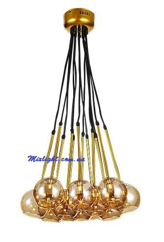 Люстра нити, светильник нити подвесной с 12 шарами плафонами LV 756PR5522-12 GD