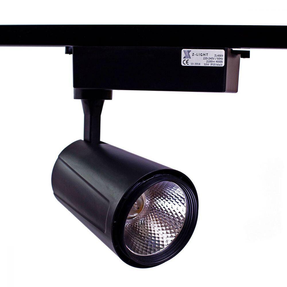 Трековый светодиодный светильник черный корпус 30W 4000K Z-Light ZL-4009