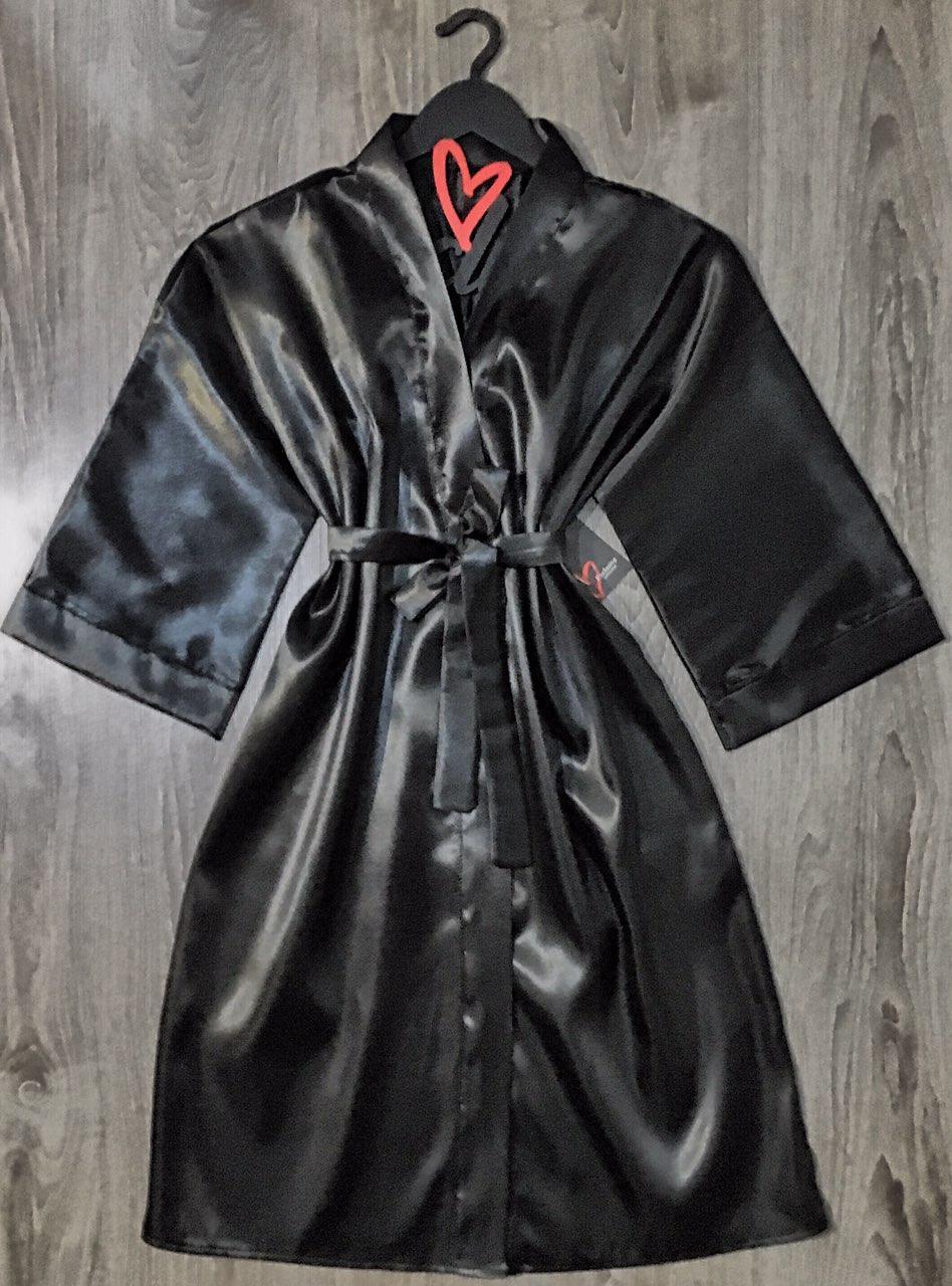 Черный атласный халат большой размер.
