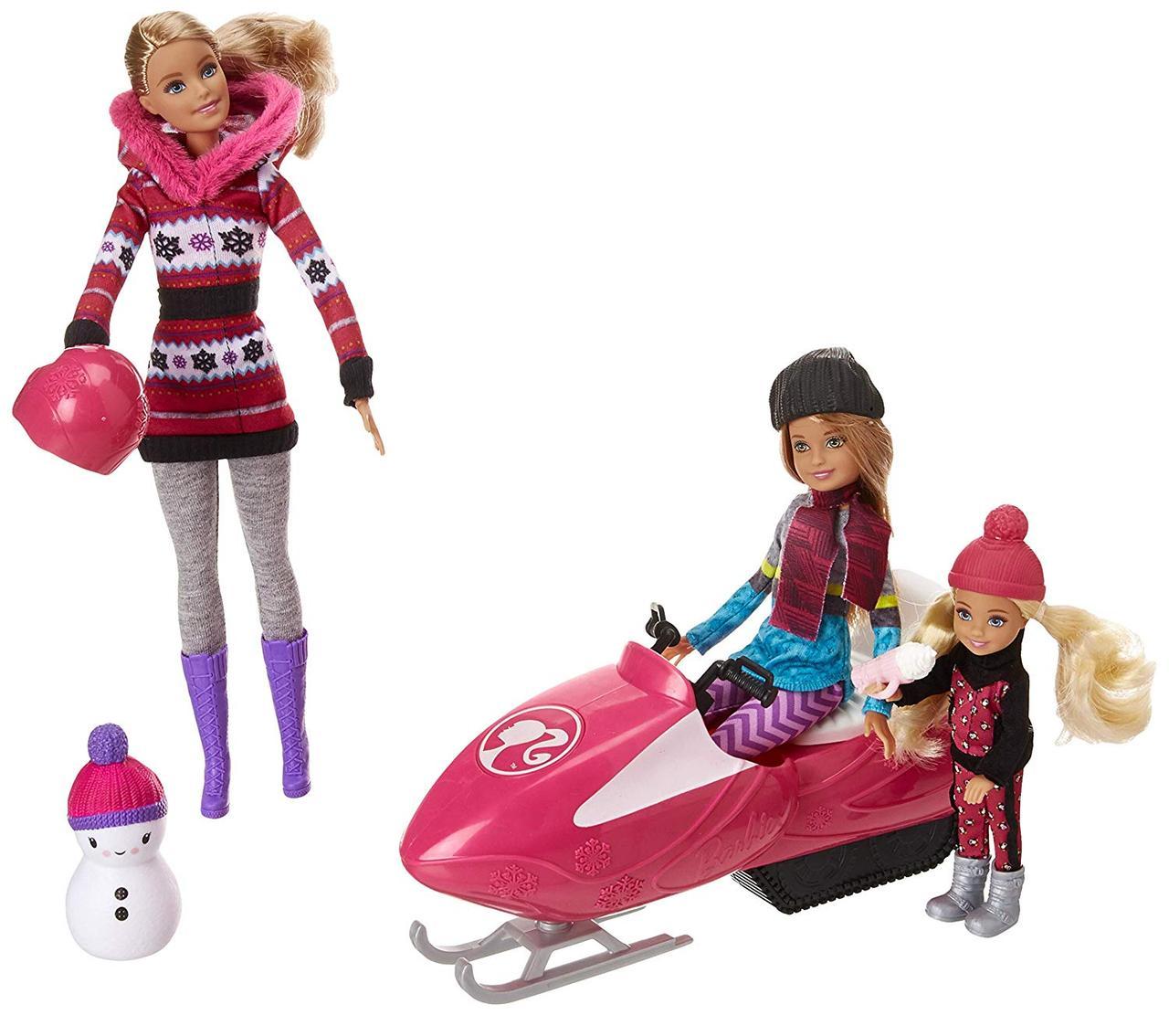 Игровой набор кукла Barbie Барби и её Сестры Снежная забава на снегоходе в зимней одежде