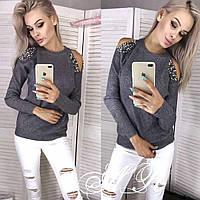 Женский свитер из ангоры с разрезами на плечах 79dmde738