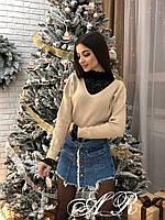 Женский ангоровый свитер с кружевной вставкой 79dmde739