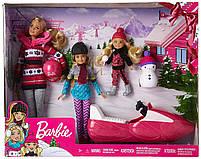 Игровой набор кукла Barbie Барби и её Сестры Снежная забава на снегоходе в зимней одежде, фото 6
