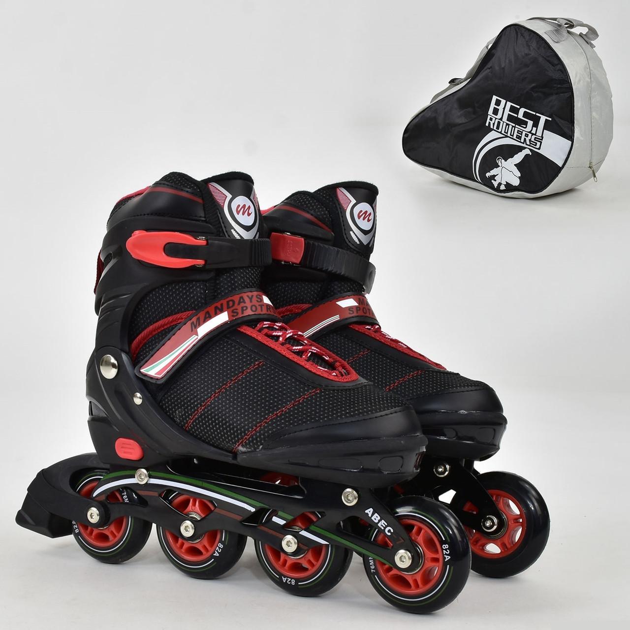 """Ролики 8903 """"L"""" Best Roller черные (размер 39-42), колёса PU, без света, в сумке, d=7.6 см"""