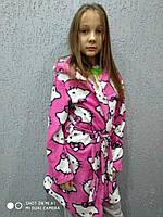 """Халат детский и подросток с капюшоном Флисс """"ХеллоуКитти"""" , розовый халат подросток флисовый"""