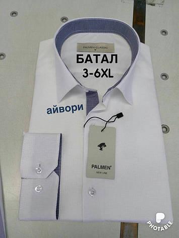 Рубашка однотонная Palmen жжакард батал, фото 2